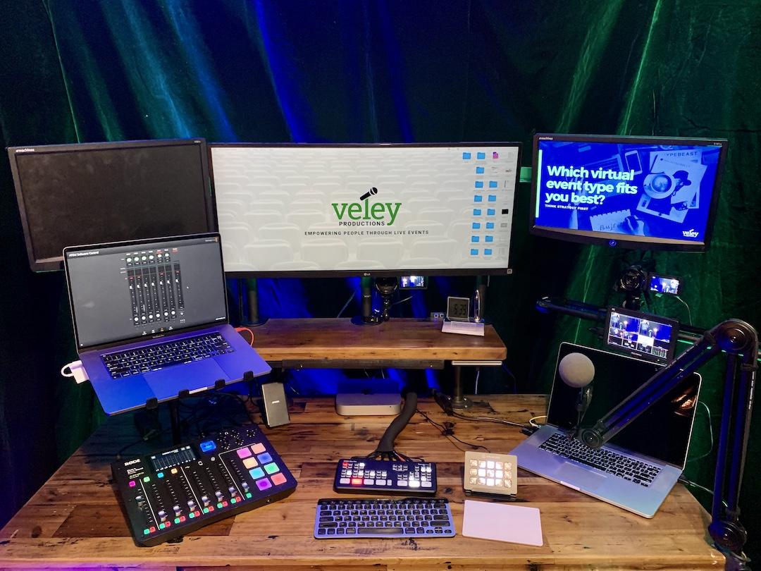 Livestreaming computer setup on desk