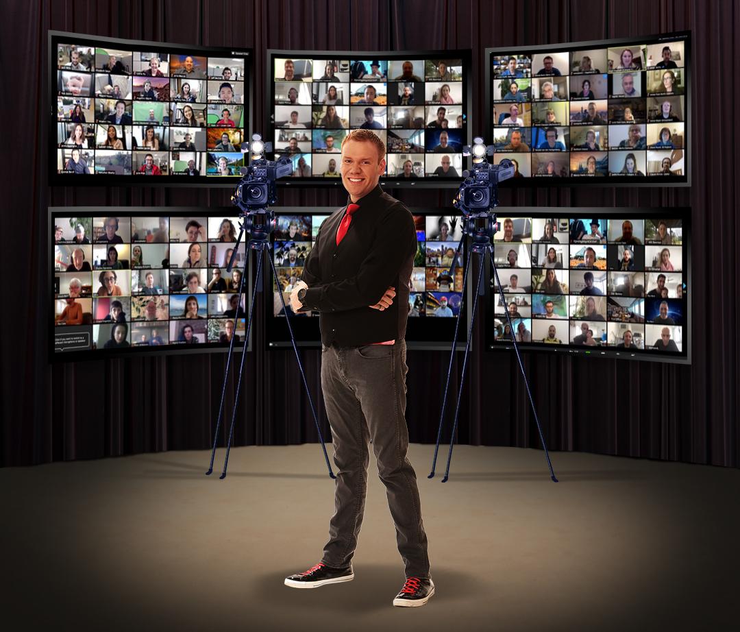 Jeff Veley multiple ZOOM meetings on TV's